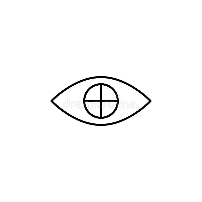 kors på ögonsymbol Beståndsdel av ögonomsorgsymbolen för mobila begrepps- och rengöringsdukapps Det tunna lin korset på ögonsymbo vektor illustrationer