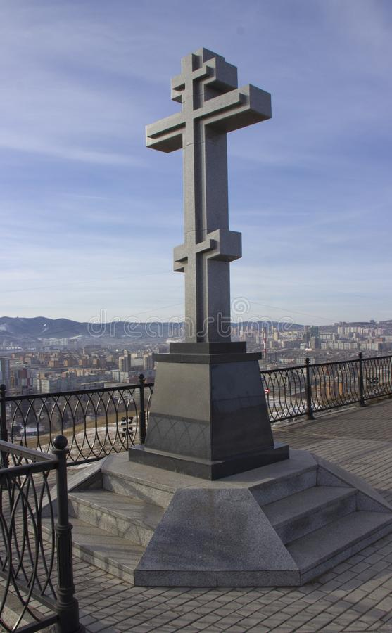 Kors på kapellet i Krasnoyarsk royaltyfri fotografi