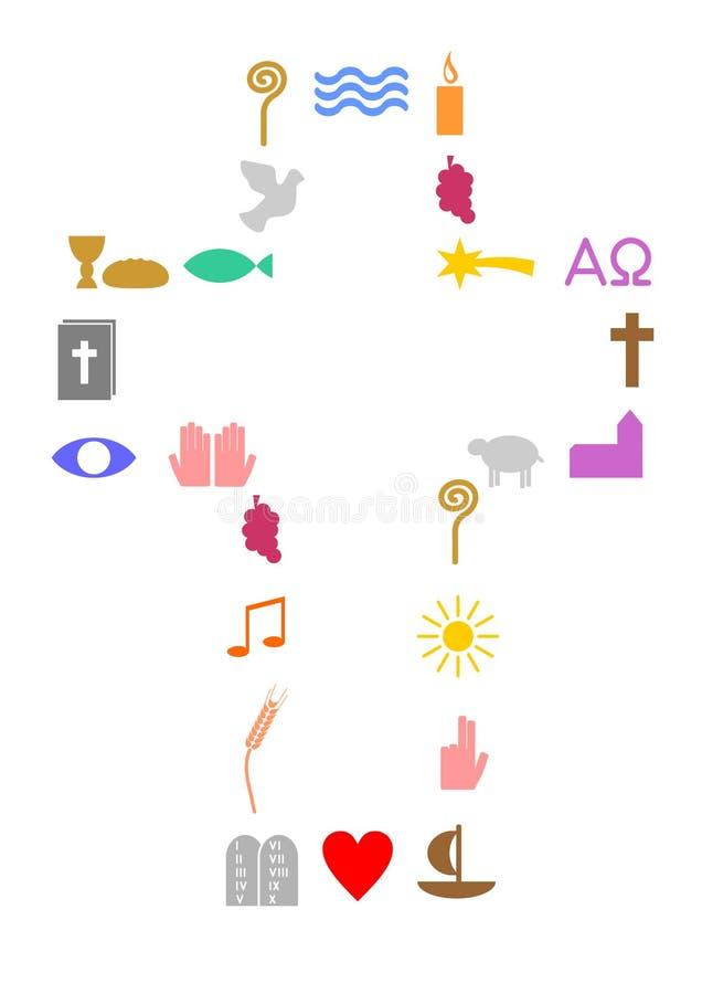 Kors som göras av kristna symboler vektor illustrationer