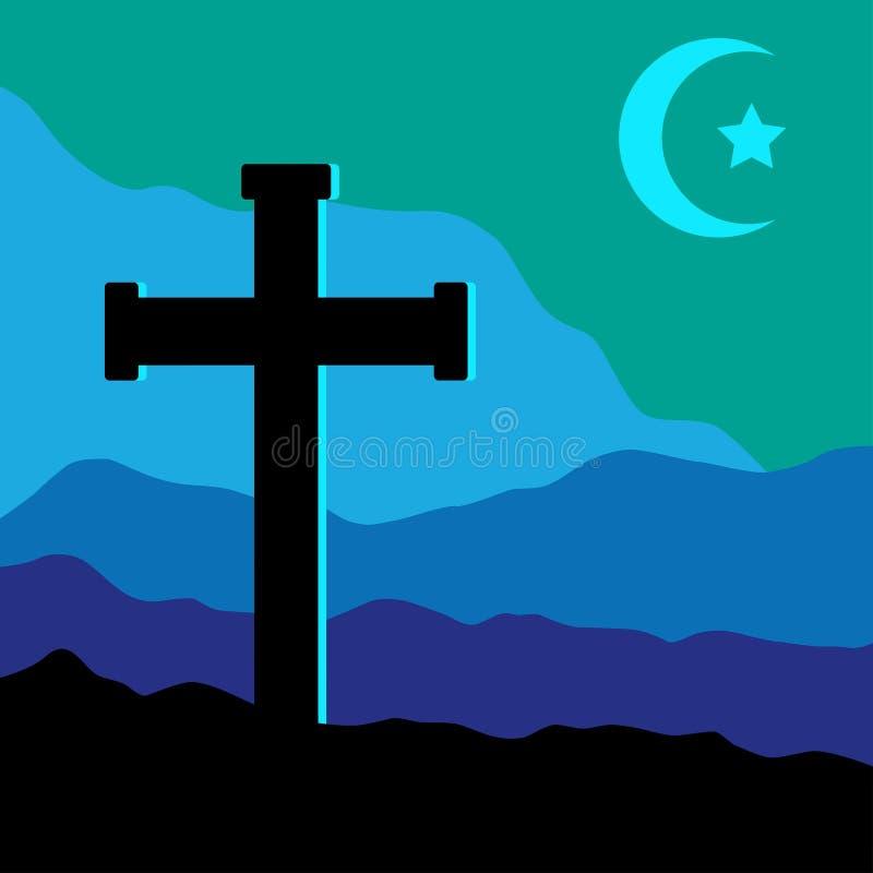 Kors, stjärna och måne stock illustrationer