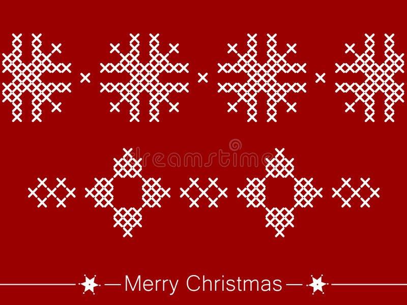 Kors-sy anvisning med prydnader för jul stock illustrationer