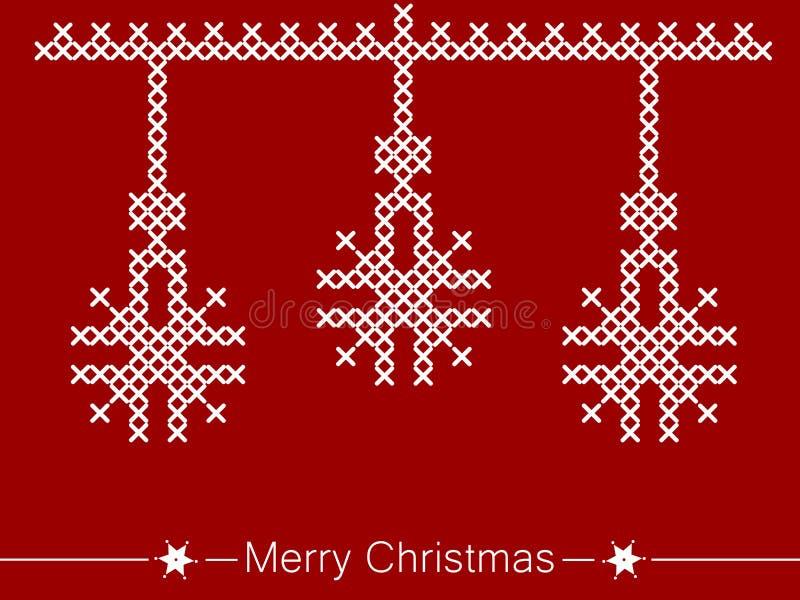 Kors-sy anvisning med prydnader för jul vektor illustrationer