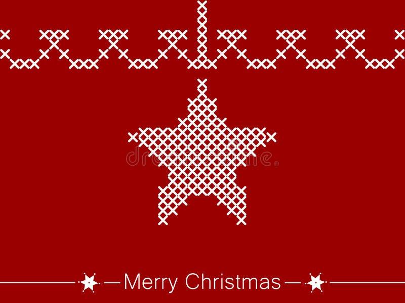 Kors-sy anvisning med stjärnan för jul royaltyfri illustrationer