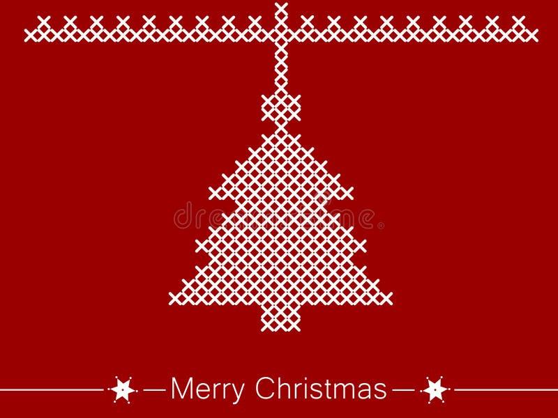 Kors-sy anvisning med trädet för jul vektor illustrationer