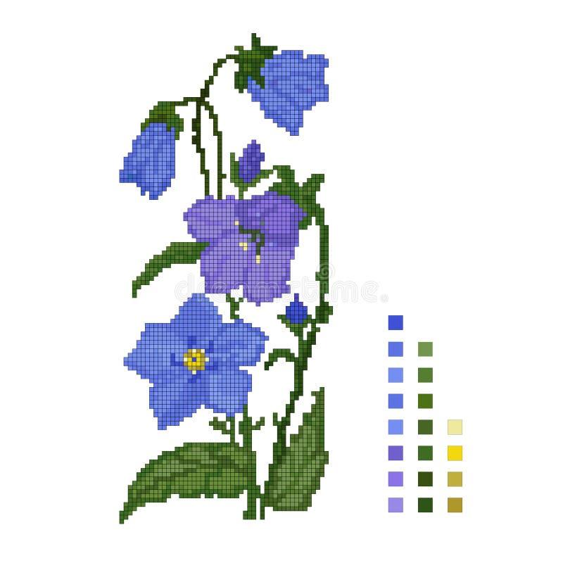 Kors-sydd blomma av klockan på en vit bakgrund, intrigen vektor stock illustrationer