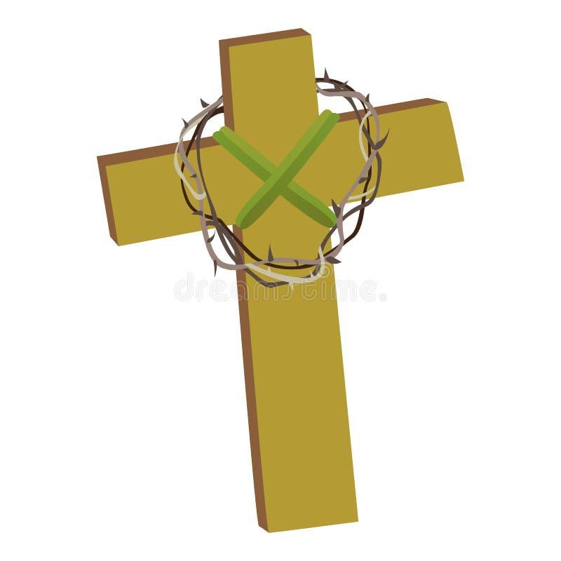Korsa med kronan av taggar som isoleras på den vita bakgrundsvektorillusatrationen, kristendomenreligiussymbol av tro stock illustrationer
