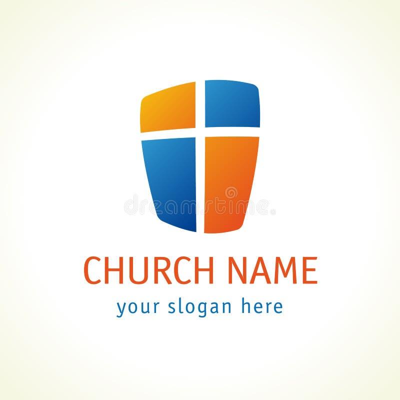 Korsa och skölden av logoen för vektorn för den kristna kyrkan för tro vektor illustrationer