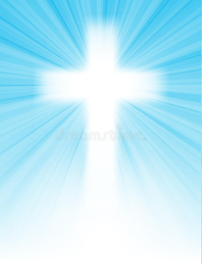 Korsa på blåttskyen, med sunstrålar stock illustrationer