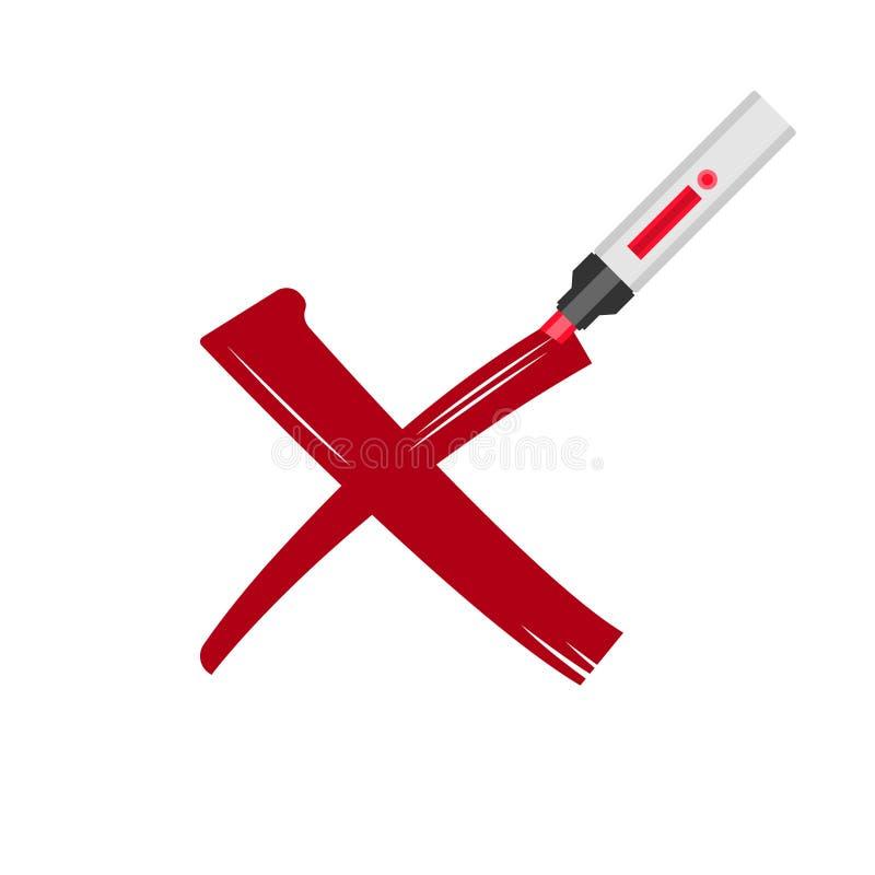 Korsa ut vektorillustrationen Röda korset som dras med markören Enkel bild med det djupa meddelandet Val röstar eller det negativ vektor illustrationer