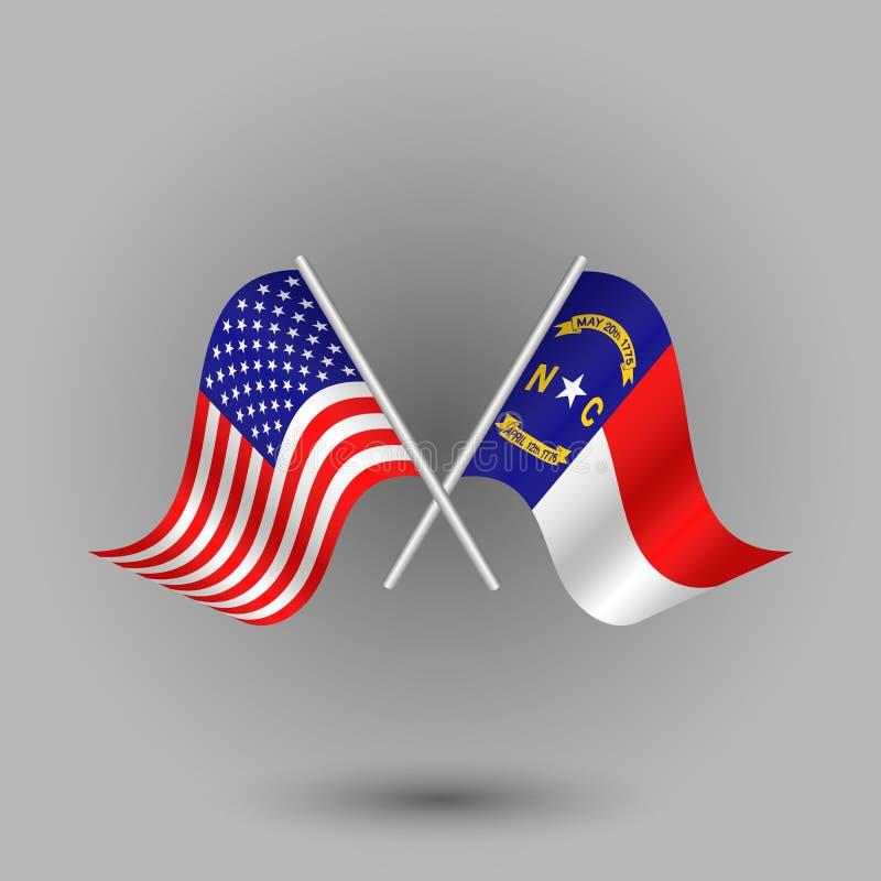 Korsad amerikan för vektor två och flagga av North Carolina symboler av USA USA royaltyfri illustrationer