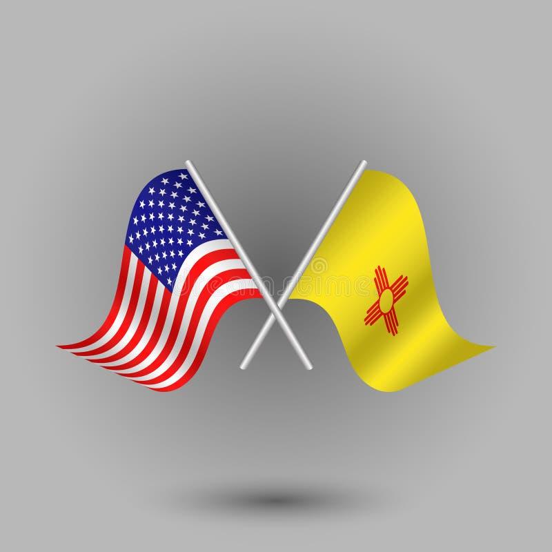 Korsad amerikan för vektor två och flagga av nytt - Mexiko symboler av USA USA stock illustrationer