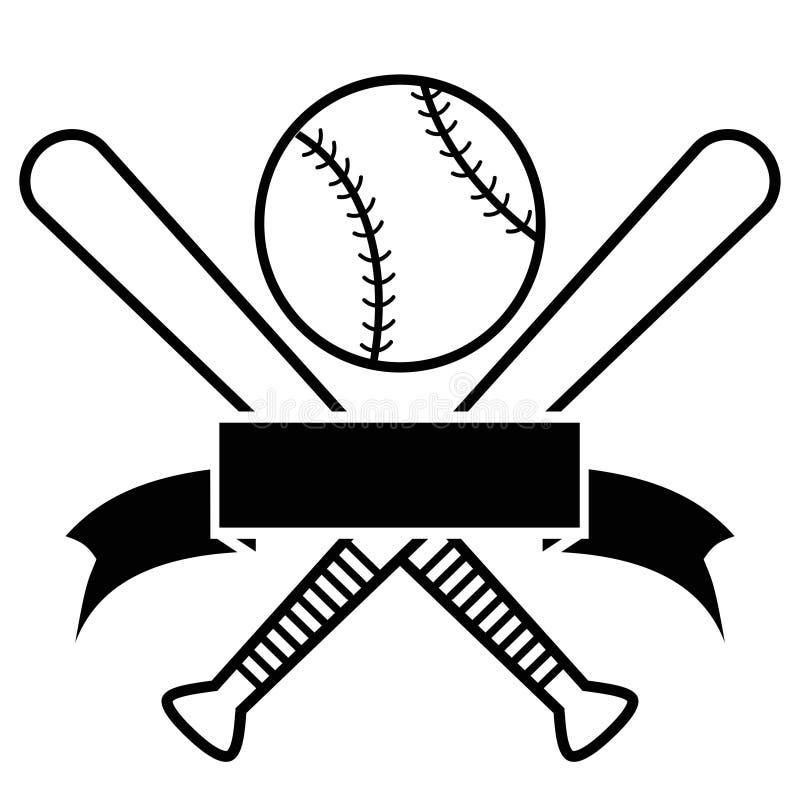 Korsad baseballslagträn och boll med banret royaltyfri illustrationer