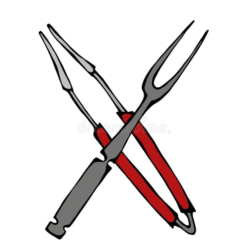 Korsad gaffel och tång för grillfestgaller hjälpmedel bakgrund isolerad white Den drog realistiska handen för klottertecknad film stock illustrationer