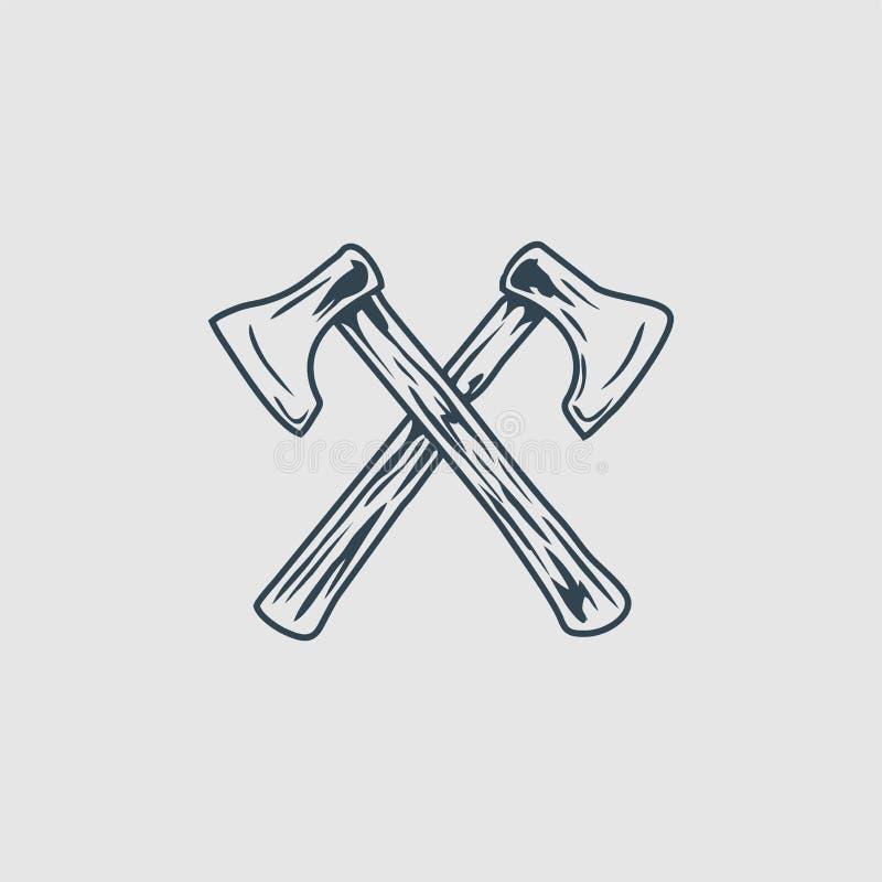 Korsad inspiration för logo för yxamonogramdesign stock illustrationer