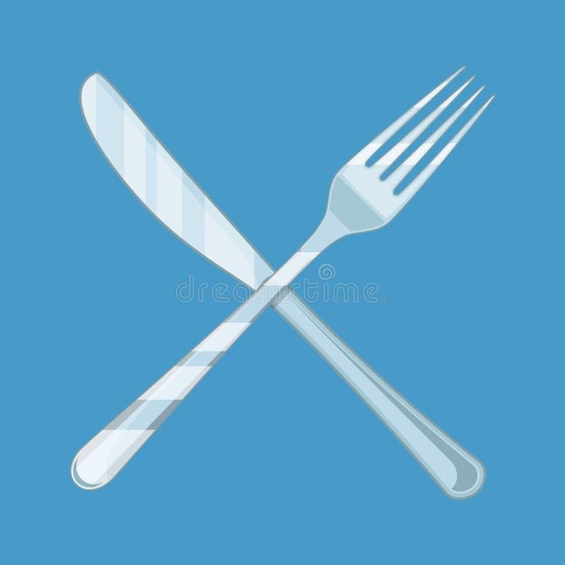 Korsad kniv och gaffel stock illustrationer