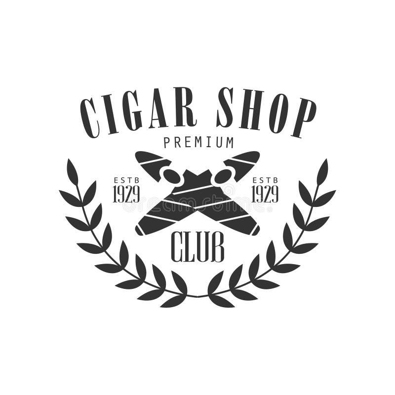 Korsad stämpel för klubba för cigarrer högvärdig kvalitets- röka monokrom för att ett ställe ska röka vektordesignmallen stock illustrationer