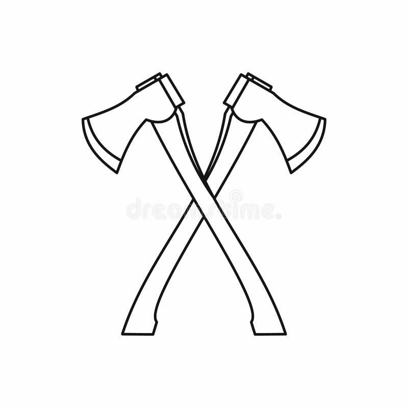 Korsad symbol för skogsarbetare yxor, översiktsstil stock illustrationer