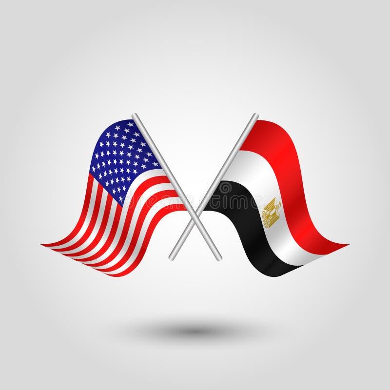 Korsade amerikan- och egyptierflaggor för vektor två vektor illustrationer