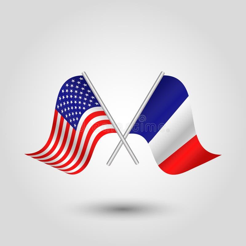 Korsade amerikan- och fransmanflaggor för vektor två stock illustrationer