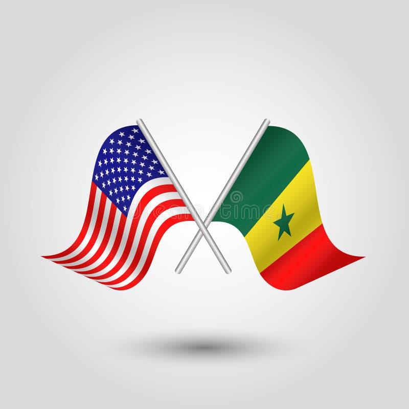 Korsade amerikan- och senegalese för vektor två flaggor royaltyfri illustrationer