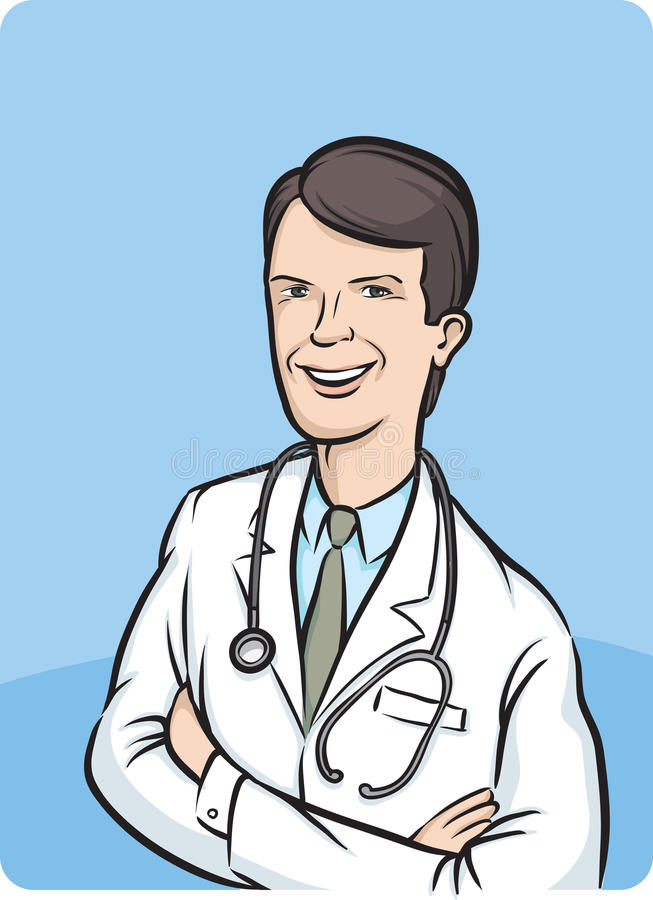 korsade armar doctor att le vektor illustrationer