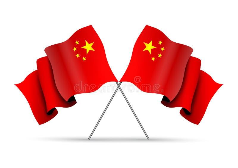 Korsade Kina flaggor vektor illustrationer