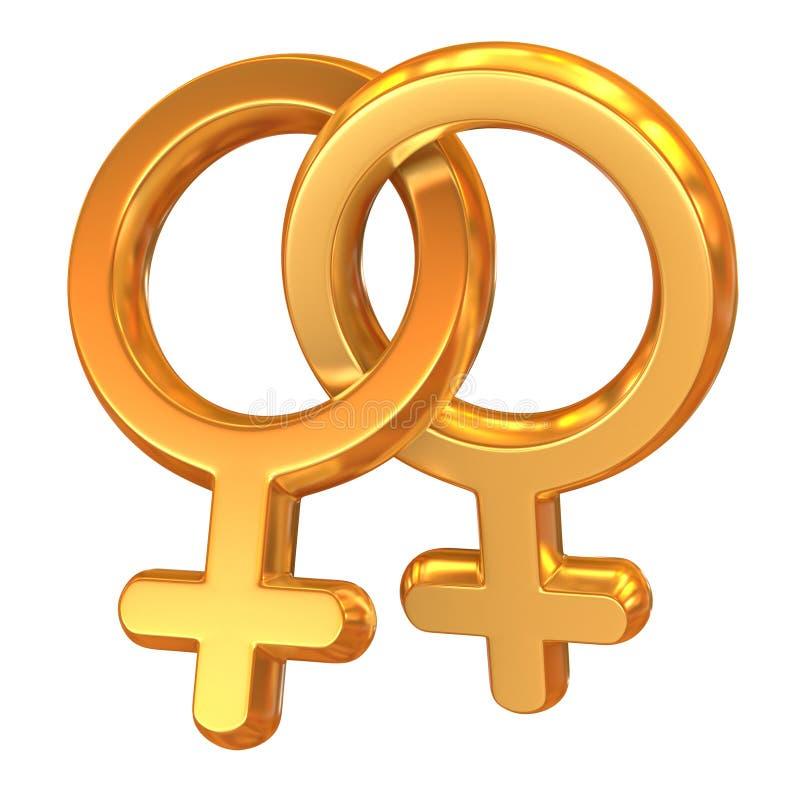 korsade kvinnligsymboler två stock illustrationer
