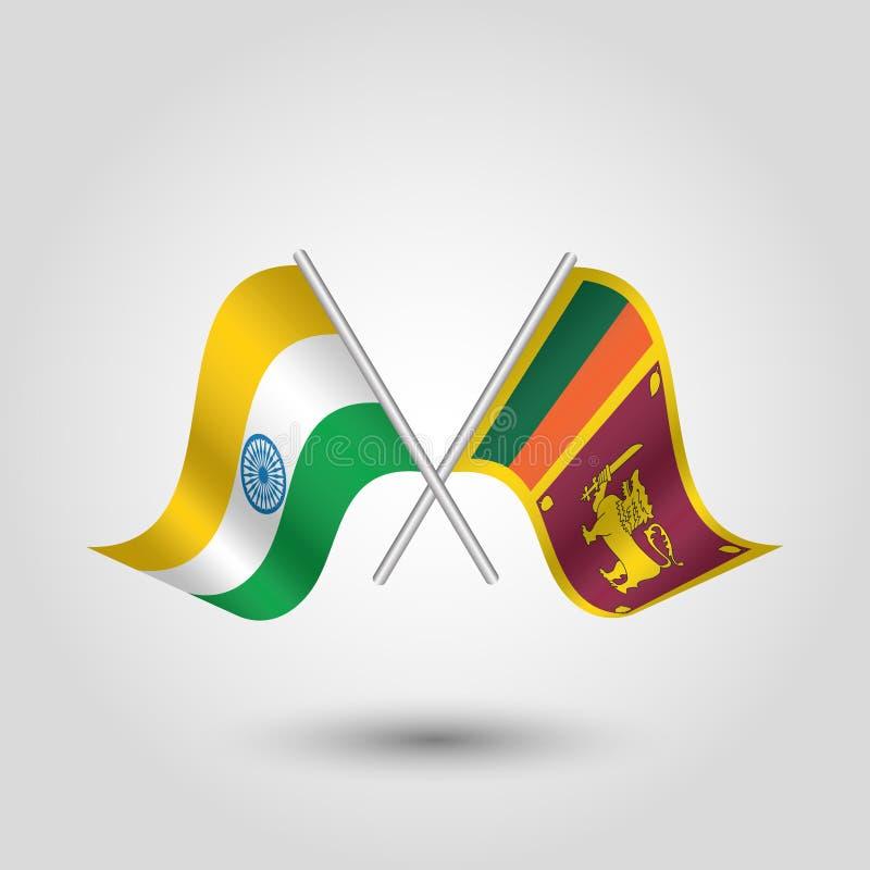 Korsade lankan flaggor för indier och för sri på silverpinnar - symbol av Indien och den demokratiska socialisten Republiken Sri  stock illustrationer