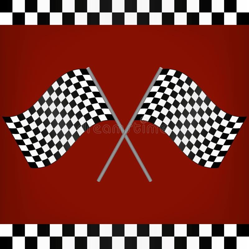 Korsade tävlings- rutiga flaggor royaltyfri illustrationer