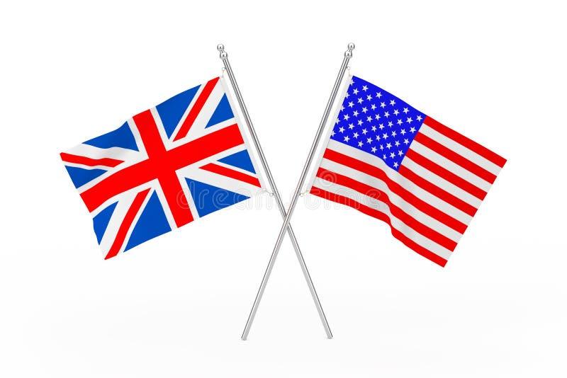 Korsade USA och Förenade kungariket flaggor framförande 3d stock illustrationer