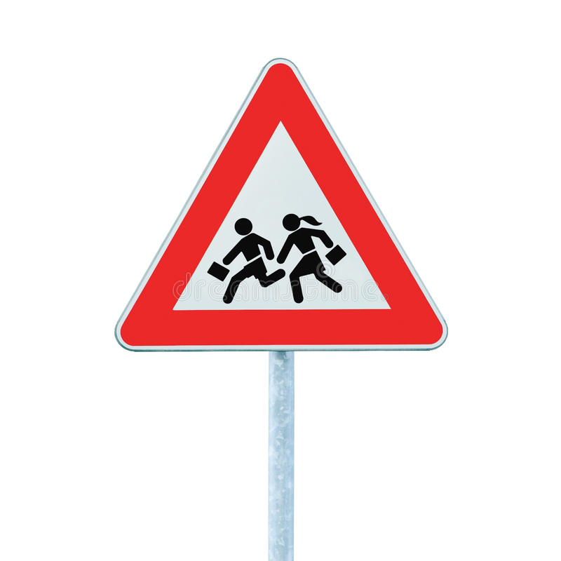 korsande isolerad varning för vägrenskolatecken arkivbild