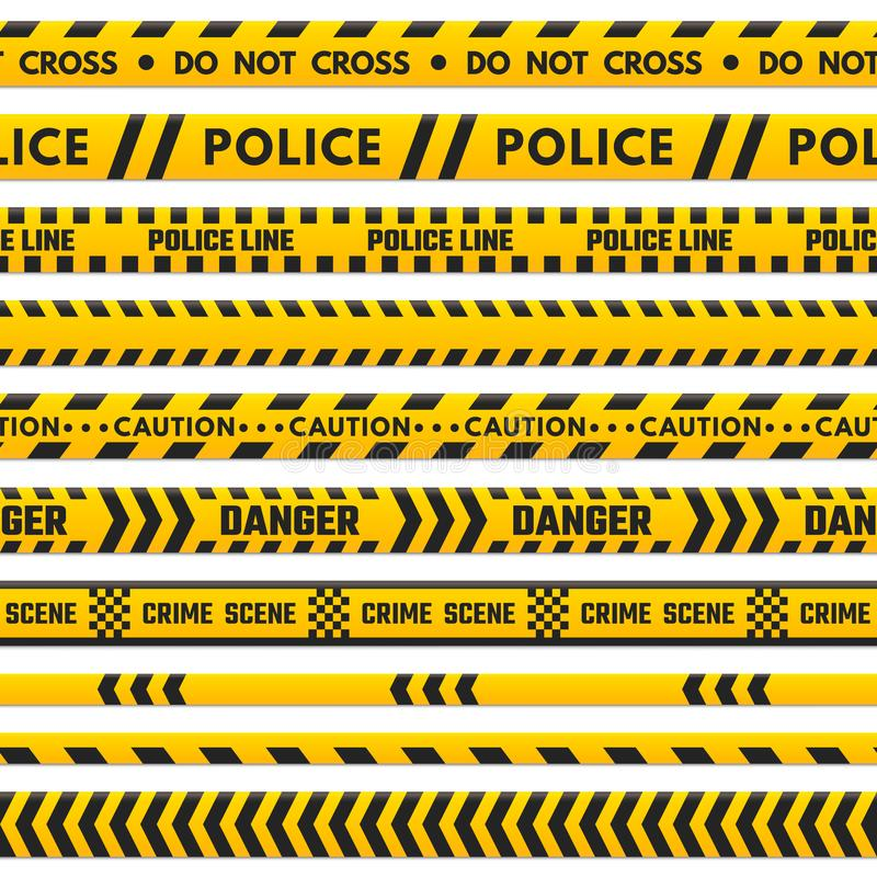 Korsar den svarta och gula linjen för polisen inte Barrikadgräns som isoleras av farabandet Brottsplatsbarriärband vektor illustrationer