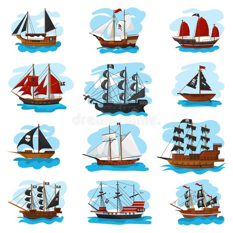Korsarskiego statku naczynia wektorowej nielegalnie kopiować łódkowatej żaglówki i potężnej pirackiej łodzi motorowa ilustracyjny royalty ilustracja