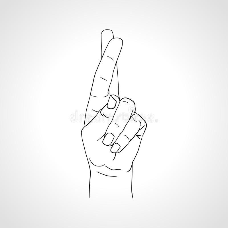 Korsat att dra fingrar Handgest för bra lycka vektor illustrationer