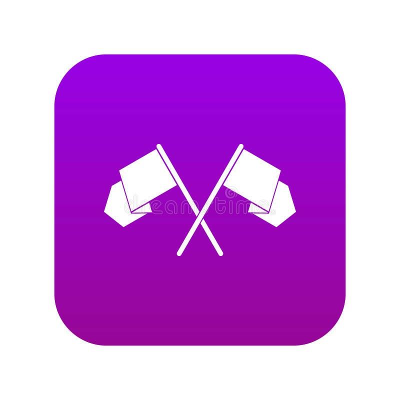 Korsat digitalt purpurfärgat för flaggasymbol stock illustrationer