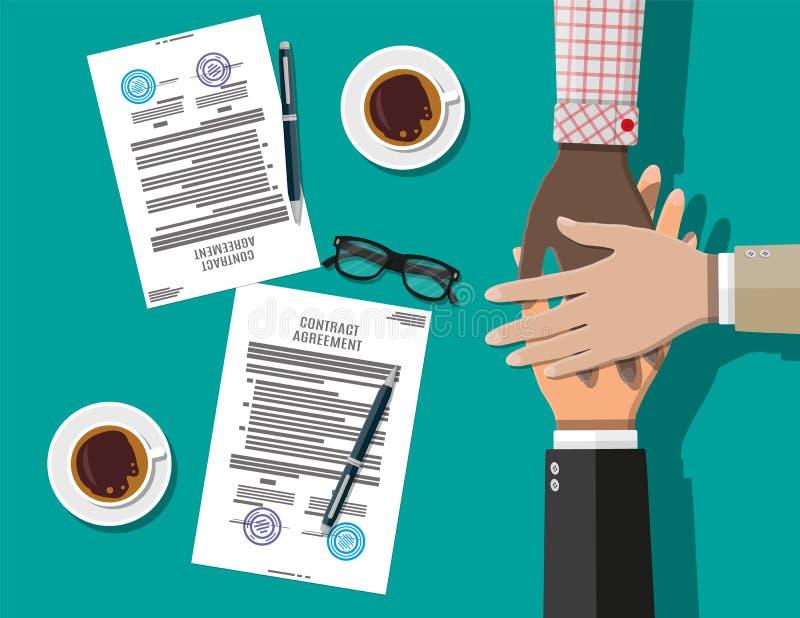 Korsat händer och avtal stock illustrationer