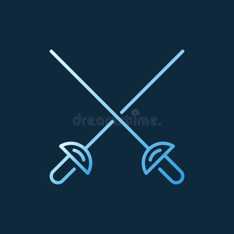Korsat symbol eller tecken för översikt för begrepp för värjavektor färgrikt vektor illustrationer