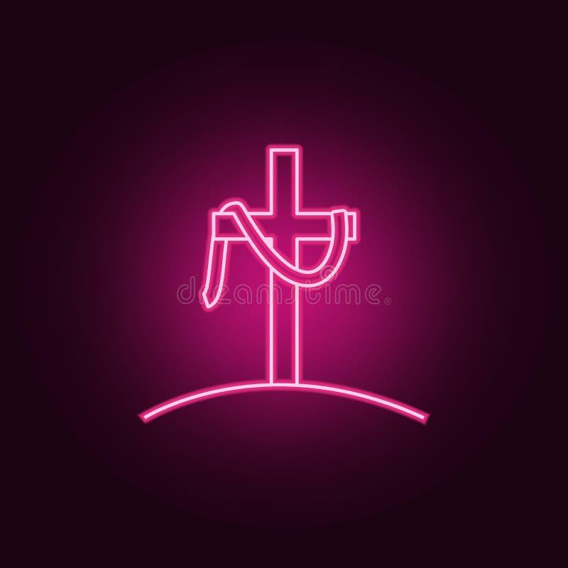 korset av den Jesus symbolen Beståndsdelar av påsken i neonstilsymboler Enkel symbol för websites, rengöringsdukdesign, mobil app vektor illustrationer