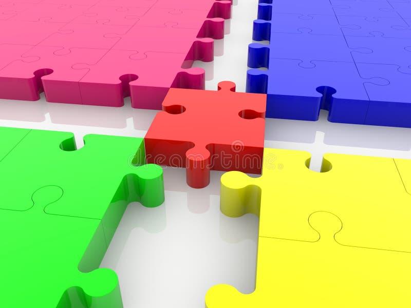 Korset av det tomma pusslet ror i olika färger royaltyfri illustrationer