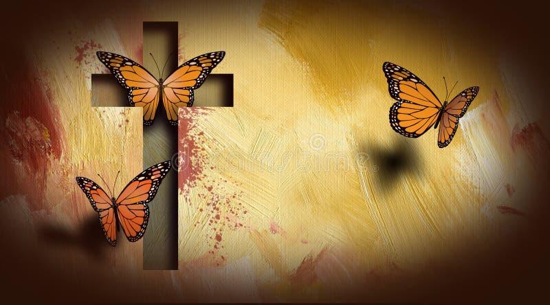 Korset av Jesus inställningsfjärilar frigör stock illustrationer