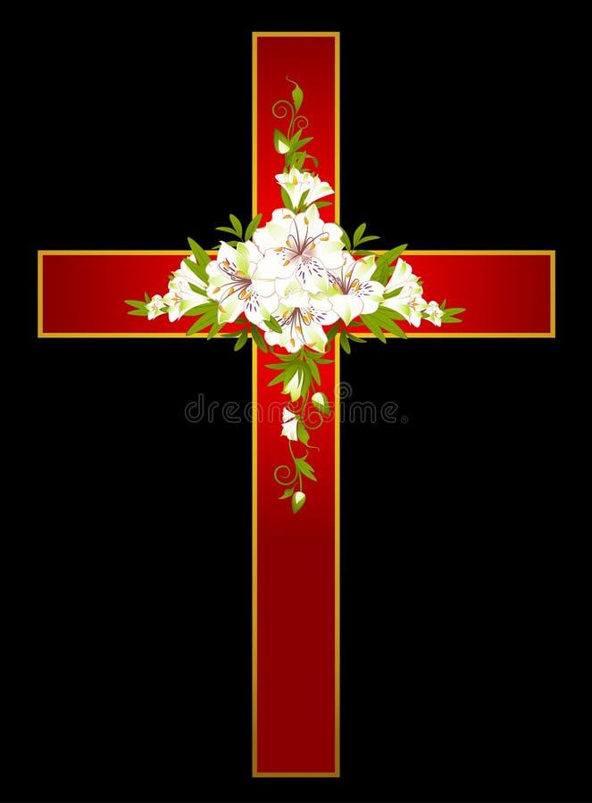 korset blommar guld- vektor illustrationer