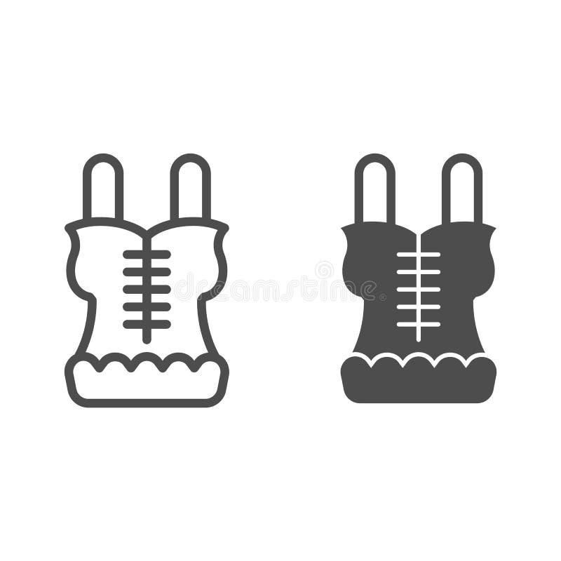Korsetlijn en glyph pictogram Lingerie vectordieillustratie op wit wordt geïsoleerd De stijlontwerp van het ondergoedoverzicht, w vector illustratie