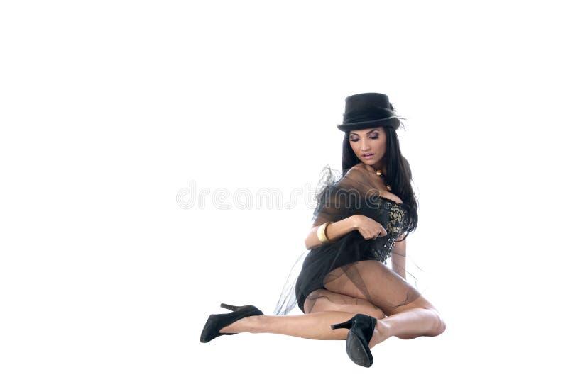 Korsett-Frau im Spitzenhut lizenzfreies stockbild