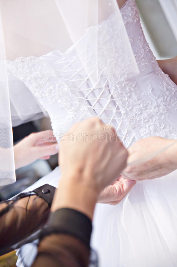 korsettklänningbröllop royaltyfri bild