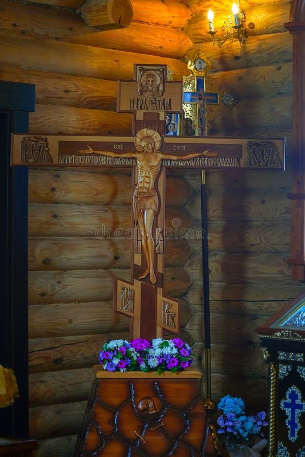 Korsfästelse av Jesus Christ på korset i den ortodoxa kyrkan royaltyfri foto