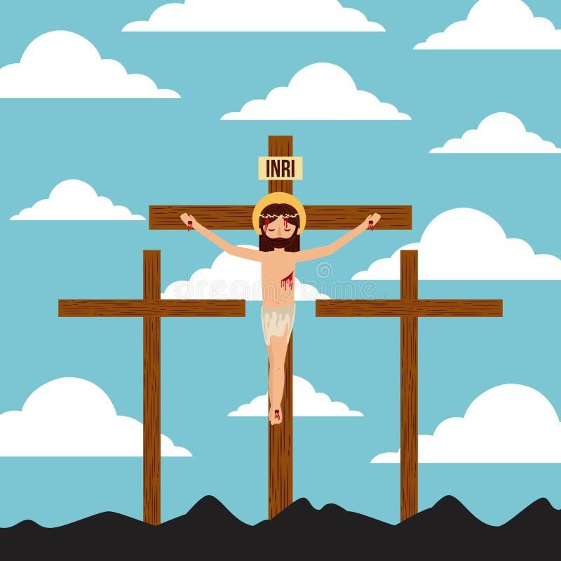 Korsfästelse av jesus christ tre korslandscpae stock illustrationer