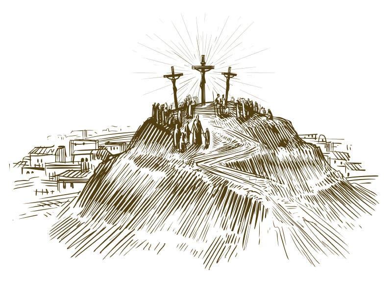 Korsfästelse Jesus Christ, son av guden Skissa vektorillustrationen royaltyfri illustrationer