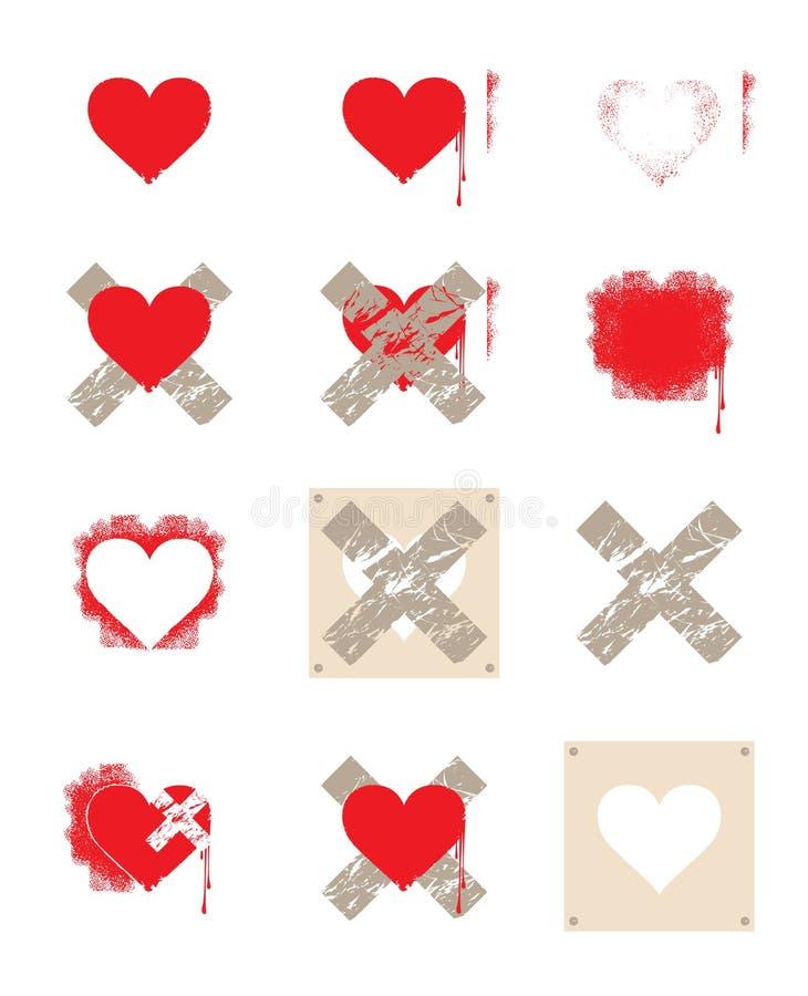 korshjärtaset stock illustrationer