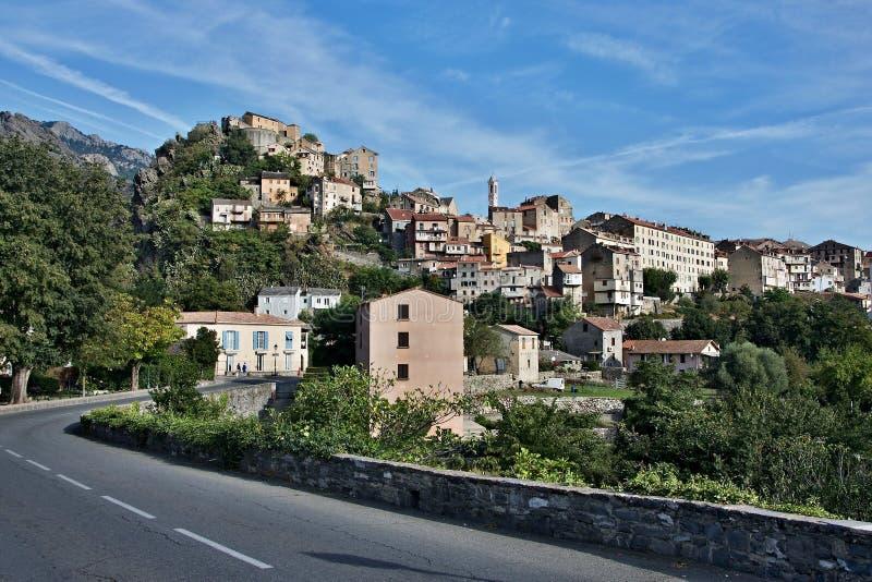 Korsika-Ansicht der Stadt Corte lizenzfreies stockfoto