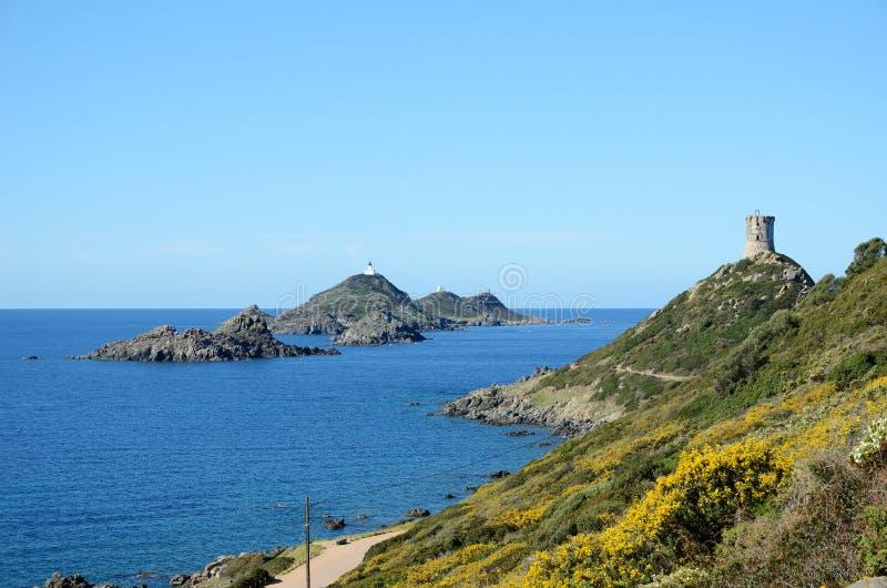 Korsische Küste mit blutigen Inseln lizenzfreie stockbilder